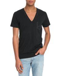 Diesel Black T-Shirt With Jesse Trompe L'Oeil Pocket black - Lyst