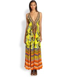 Camilla Tribal Print Silk Maxi Dress - Lyst
