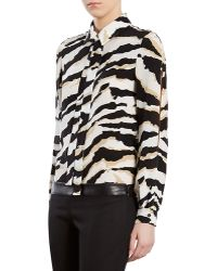Gucci Tigerprint Crepe De Chine Shirt - Lyst