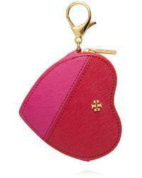 Tory Burch Kerrington Appliqué Heart Zip Coin Case Key Fob - Lyst