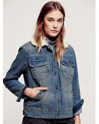 Free People Denim and Sherpa Jacket - Lyst