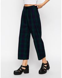 Asos Reclaimed Vintage Wide Leg Culottes In Dark Check green - Lyst