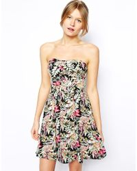 Oasis Hawaiian Tropical Print Bandeau Dress - Lyst