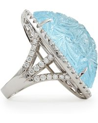 Rina Limor - Large Oval Bouquet Carved Blue Topaz & Diamond Ring - Lyst