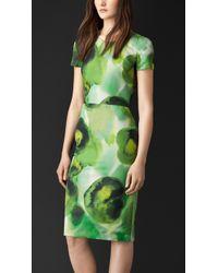 Burberry Floral Print Silk Cotton Dress - Lyst