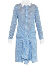 Yohji Yamamoto Regulation - Striped Sleeve-tie Cotton Shirtdress - Lyst