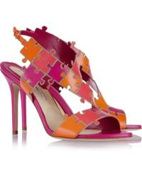 Brian Atwood Sommer Color-block Leather Sandals - Lyst