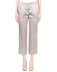 Nina Ricci Plaid Charmeuse Trousers pink - Lyst
