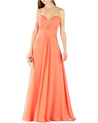 BCBGMAXAZRIA Pleated Lace-Inset Gown - Lyst