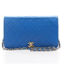 Chanel Pre-Owned Blue Lambskin Full Flap Bag blue - Lyst