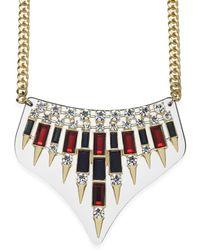 ABS By Allen Schwartz Gold-tone Crystal Bib Frontal Necklace - Lyst
