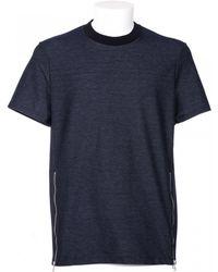 Neil Barrett Denim T-Shirt With Zip blue - Lyst