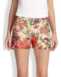 RED Valentino Macro Floralprint Shorts - Lyst