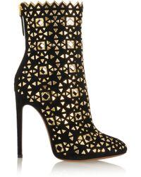 Alaïa Embellished Suede Boots - Lyst