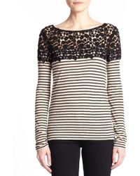 Bailey 44 Nile Lace-Trim Striped Top - Lyst