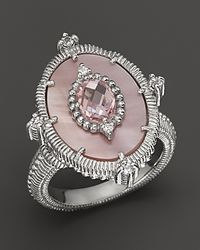 Judith Ripka Vertical Oasis Ring With Pink Motherofpearl Pink Crystal and White Sapphires - Lyst