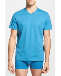 Hugo Boss Cotton V-Neck T-Shirt blue - Lyst