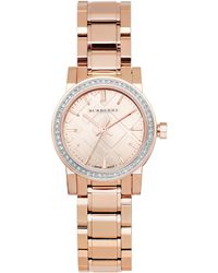 Burberry Womens Swiss Diamond 15 Ct Tw Rose Gold Ionplated Stainless Steel Bracelet 26mm - Lyst