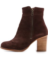 House of Harlow 1960 - Leslie Quilted Suede Booties - Black - Lyst