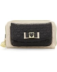 Betsey Johnson Colorblocked Quilted Heart Wallet Black - Lyst