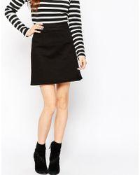 ASOS | Denim A-line Mini Skirt In Black | Lyst