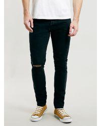 Topman Ltd Washed Black Skinny Ripped Jeans - Lyst