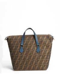 Fendi Blue and Brown Zucca Canvas Convertible Shoulder Tote - Lyst