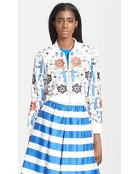Alice + Olivia Bead Embroidered Silk Crop Jacket - Lyst