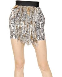 Moncler Gamme Rouge - Faux Feather Raffia Gabardine Skirt - Lyst