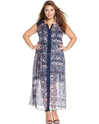 Vince Camuto Plus Size Sleeveless Tribalprint Maxi Dress - Lyst