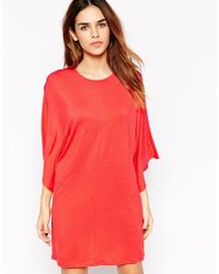 Asos T-Shirt Dress With Kimono Sleeves red - Lyst