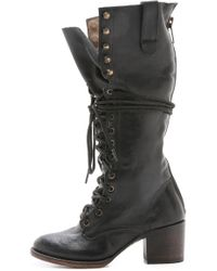 Freebird by Steven - Grany Lace Up Boots - Stone - Lyst