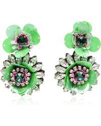 Shourouk Green Flower Earrings - Lyst