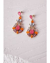 Missguided Statement Gem Drop Earrings Neon Pink - Lyst