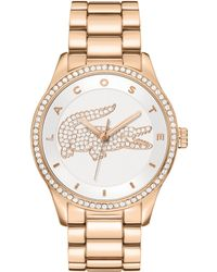 Lacoste Women'S Victoria Rose Gold Ion-Plated Stainless Steel Bracelet 40Mm 2000828 - Lyst