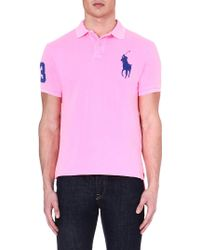 Ralph Lauren Customfit Cotton Polo Shirt Electric Pinkr - Lyst
