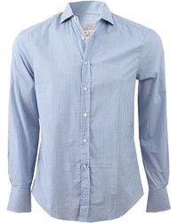 Brunello Cucinelli Check Spread Collar Shirt blue - Lyst