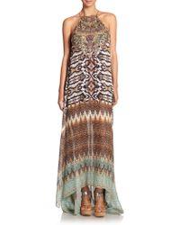 Camilla Embellished Printed Silk Maxi Dress - Lyst