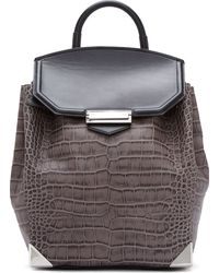 Alexander Wang Grey and Black Croc_embossed Negative Prisma Backpack - Lyst