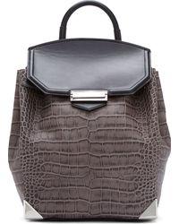 Alexander Wang Grey and Black Croc_embossed Negative Prisma Backpack - Lyst