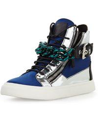 Giuseppe Zanotti Mens Satin  Metallic Chain High-top Sneaker - Lyst