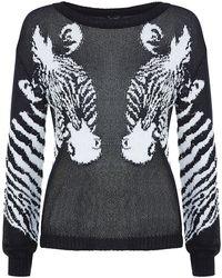Armani Jeans Zebra Heads Knit Sweater - Lyst