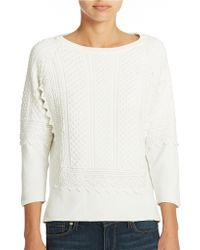 French Connection Textured Cotton Sweater - Lyst