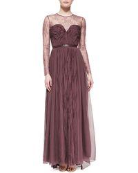 Catherine Deane Longsleeve Silk Ruffled Gown - Lyst