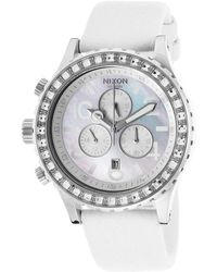 Nixon Womens 4220 Chrono White Snake Skin and Mop Dial - Lyst
