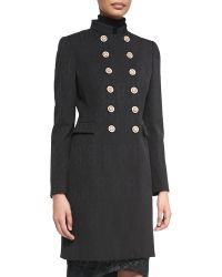 Versace Mandarin-Collar Double-Breasted Coat - Lyst