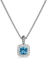 David Yurman Petite Albion Pendant with Hampton Blue Topaz and Diamonds On Chain - Lyst