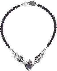"King Baby Studio Black Cz Heart W/ Wings On 6Mm Onyx Necklace 16"" black - Lyst"