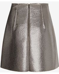 MSGM Silver Lame Skirt - Lyst