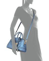 B Brian Atwood Sharon Mini Metallic Zip Satchel Bag Cadet Blue - Lyst